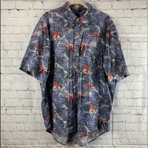 Blue Hawaiian Shirt with Island Map & Palm Trees